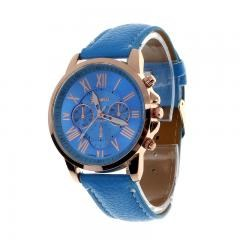 New Women's Fashion Geneva Roman Numerals Faux Leather Analog Quartz Wrist Watch - Blue