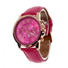 New Women's Fashion Geneva Roman Numerals Faux Leather Analog Quartz Wrist Watch - Pink
