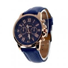 Women's Geneva Roman Numerals Faux Leather Analog Quartz Watch - Dark Blue Women's Geneva Roman Num