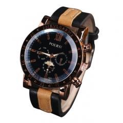 Luxury Men's Watches Analog Quartz Faux Leather Sport Wrist Dress Watch Black