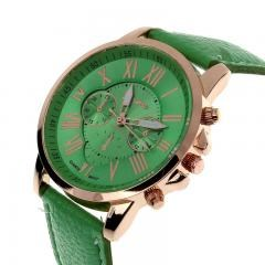 New Women's Fashion Geneva Roman Numerals Faux Leather Analog Quartz Wrist Watch -Green