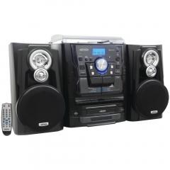 JENSEN(R) JMC-1250 Bluetooth(R) 3-Speed Stereo Turntable Music System with 3-CD Changer & Dual Cass