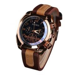 Luxury Men's Watches Analog Quartz Faux Leather Sport Wrist Dress Watch Brown
