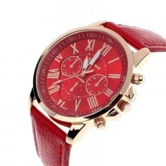 New Women's Fashion Geneva Roman Numerals Faux Leather Analog Quartz Wrist Watch - Red