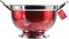 EuroHome Red Stainless Steel Colander - 3 Qt. Case Pack 12