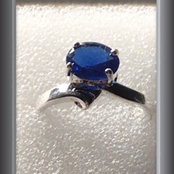 Ring blue 925 sterling silver ring size 6 1/2