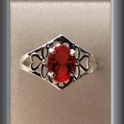 Ring 925 sterling silver ring red