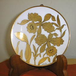 "Stouffer ""Golden Orchid"" Hand Painted fine china. signed by R.Swartz"