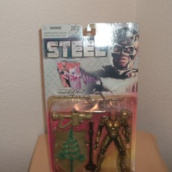 "STEEL ACTION FIGURE, ARMOUR UP WITH STEEL"" SONIC FLASH"" STUNGUN AND FULL BODY SHIELD"