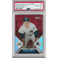 2006 TOPPS FINEST MICKEY MANTLE FINEST MOMENTS REFRACTOR #MMFM5 PSA 10