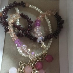 2 strand garnet and pearl necklace