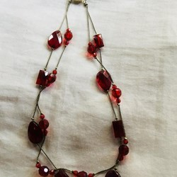 Red faux crystal necklace