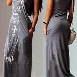 CHEAP FASHIONABLE U NECK SLEEVELESS ANIMAL PRINTED WOMEN'S SUMMER MAXI  LONG DRESS