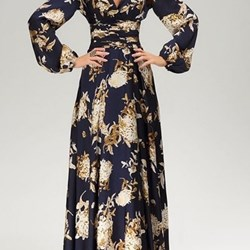 Vintage Plunging Neck Long Sleeve Floral Print Prom Dress For Women