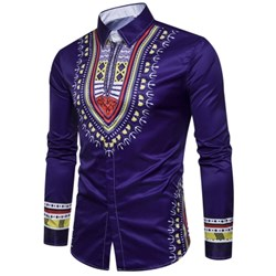 Geometric National Print Long Sleeve  Men FashionShirt