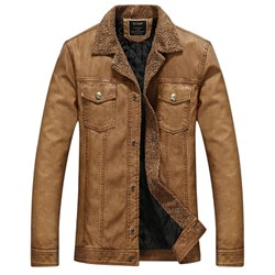 affordableTurndown Collar Padded Faux Leather  Men Jacket