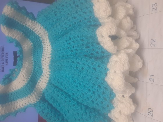 Teal and white baby dress