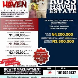 Buy a piece of land in ibeju lekki/ Ajah Nigeria (whatsapp or call)