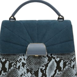 Zara Contrasting City bag with leather flap BNWT BLUE BLOGGERS FAVE