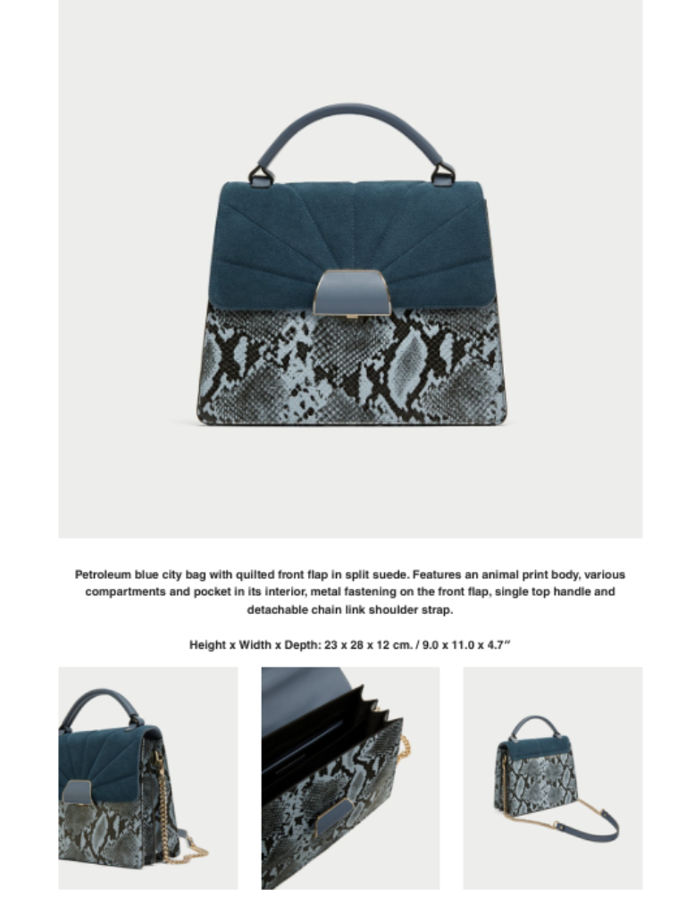 40e1d0177a2 ... Zara Contrasting City bag with leather flap BNWT BLUE BLOGGERS FAVE ...