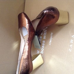 ZARA GENUINE CRACKLED LEATHER HEEL SHOES BNWT BRONZE 9 US 7 UL