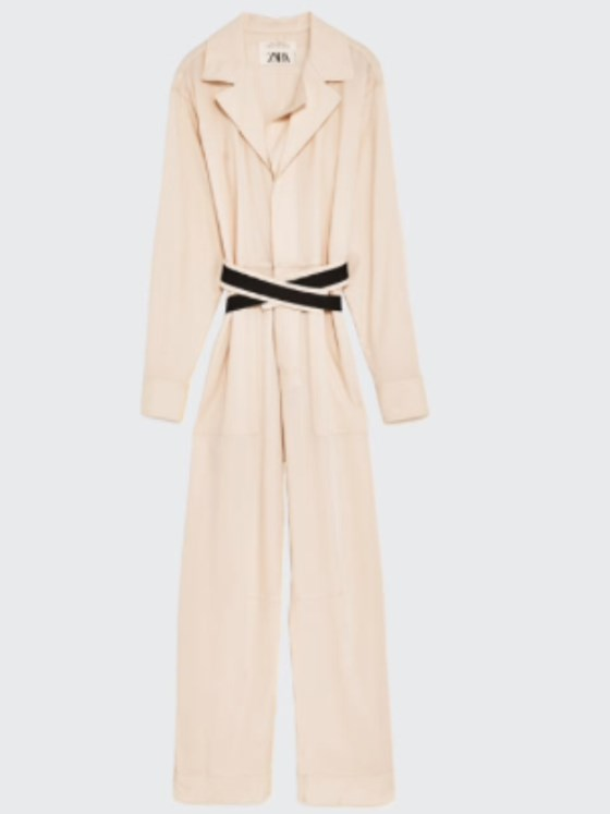 Zara STUDIO WOOL JUMPSUIT WITH CONTRASTING BELT BNWT M-L OFF WHITE