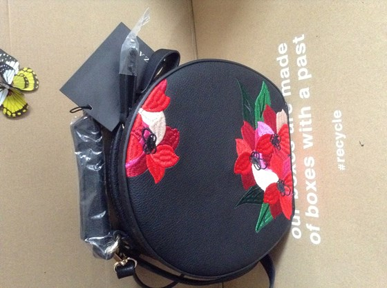 Zara embroidered oval CROSSBODY bag BNWT black