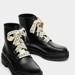 Zara leather boots with slogan on lace BNWT 8 US BLACK