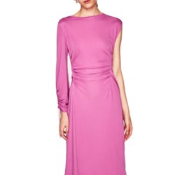 Zara Gathered dress with Asymettric Sleeves Studio Collection M-L pink